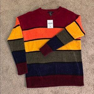NWT Forever 21 Rainbow Velour Sweater, medium